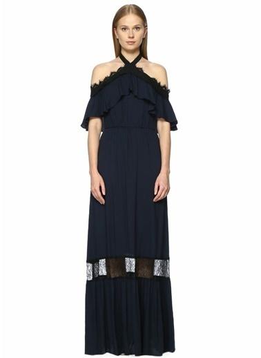 Alice+Olivia Askılı Uzun Abiye Elbise Siyah